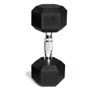 Single CAP hex dumbbell standing on its end