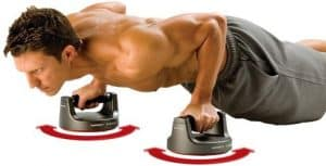 Side view of man doing push up on perfect pushups basic