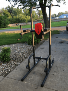 Front view of assembled weider power tower