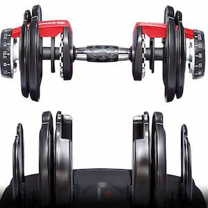 Bowflex selecttech 552 dumbbells with weights unlocked