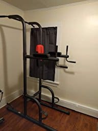 Fully assembled weider power tower against wall