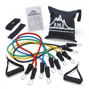 Complete set of coloured Black mountain resistance bands plus portable carry bag