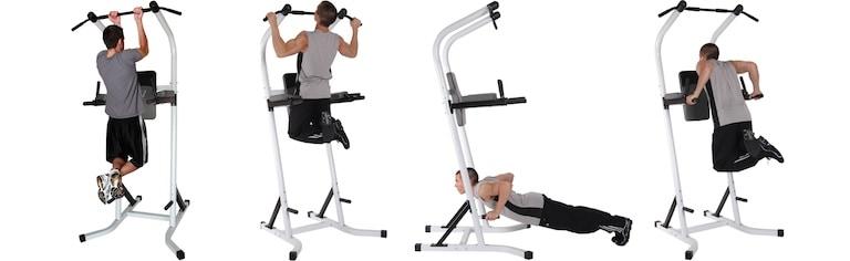 Man doing multiple bodyweight exercise on the Body Champ PT600 Power Tower