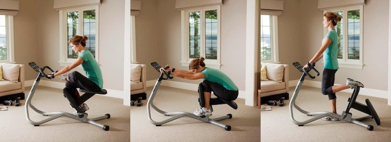 Woman doing ,multiple different stretches on the precor 240i stretch trainer