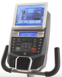 A tablet fits easily on the R616 recumbent bike's display