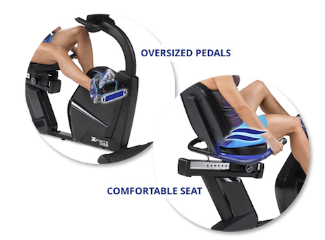 Xterra SB2.5r recumbent bike seat and pedals graphic