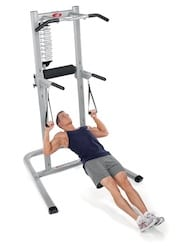 bowflex body tower man doing inverted rows