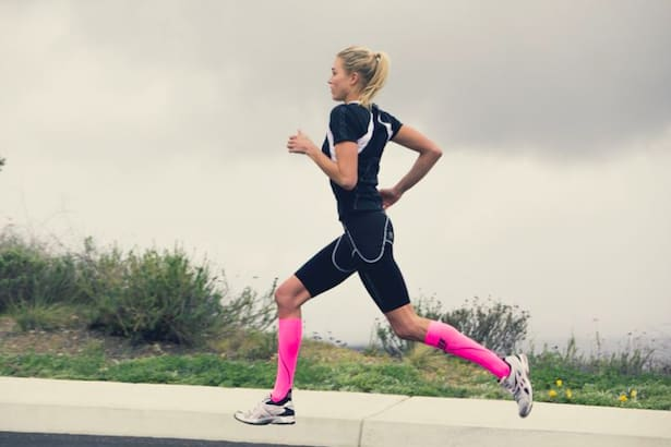 Many runners wear compression socks