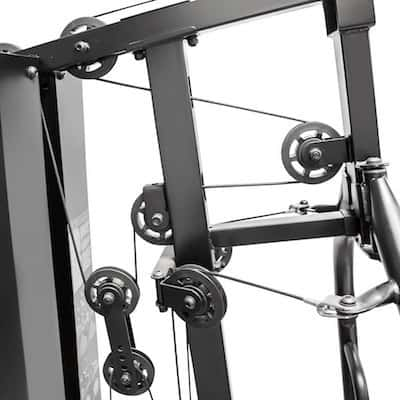 The Marcy home gym has a sleek looking pulley system