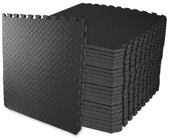 BalanceFrom foam puzzle mats are our number pick for lightweight gym flooring