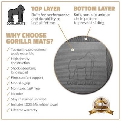 Gorilla Mats have a comfortable, cushioned surface and great non-slip underside