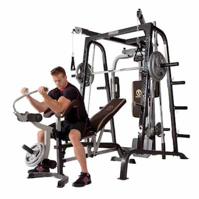 The Diamond Smith Cage System has a preacher curl attachment whih allows focused development of the biceps