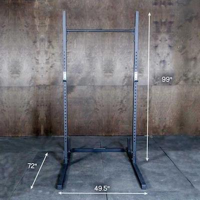 The Fringe Sport strength series squat rack has a very large footprint