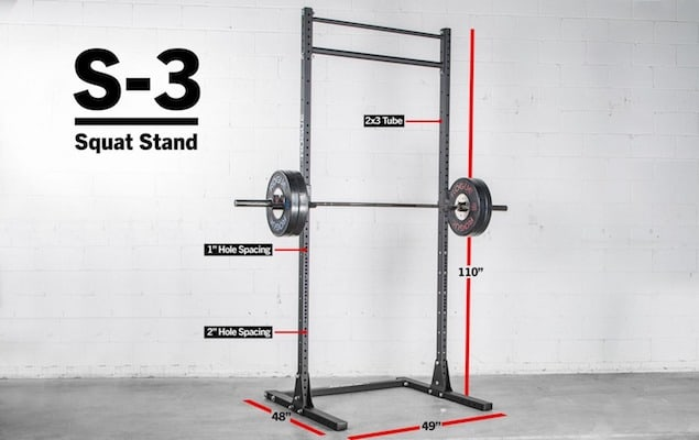 The Rogue S-3 Squat Stand 2.0 is best suited for rooms with high ceilings
