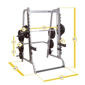 The Body-Solid Series 7 Smith Machine has a large footprint