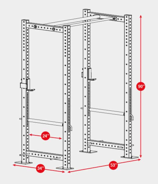 """While a 24"""" working space may seem narrow, the R-3 power rack has plenty of room to lift"""