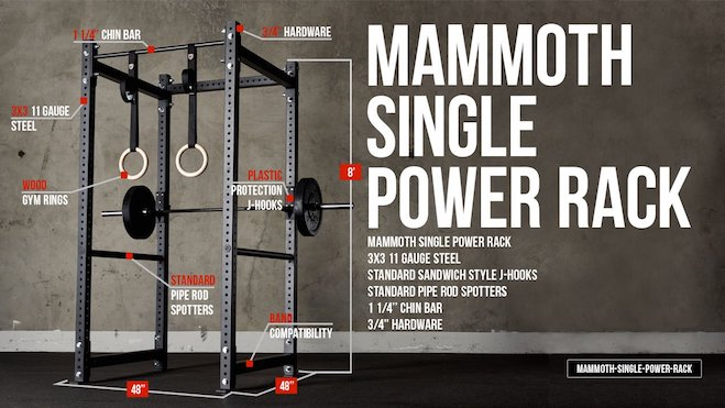 The Mammoth Single Rack is the premium variation and includes wooden rings, and stands considerably taller