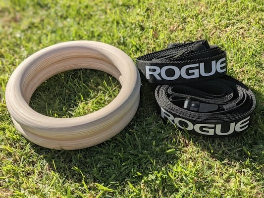 Rogue Wood Gymnastic rings on grass