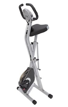 Folding the exerpeutic exercise bike reduces the footprint by half