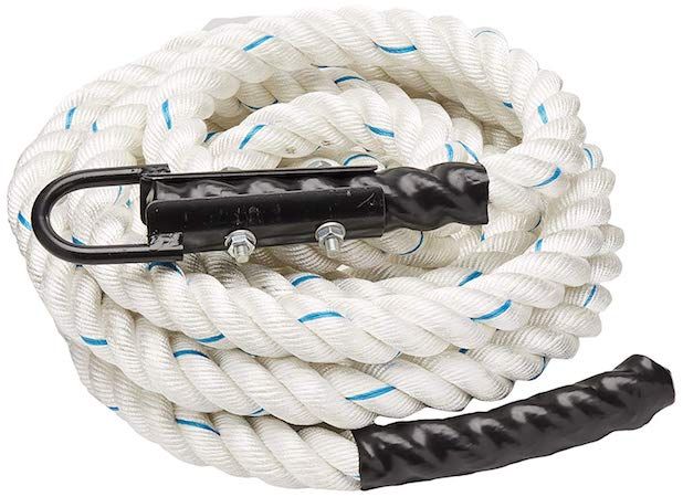 This polydacron climbing rope from Crown Sporting Goods is firm but good