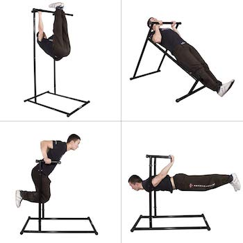 The gravity fitness pull up rack can be adjusted and altered to allow a range of exercises