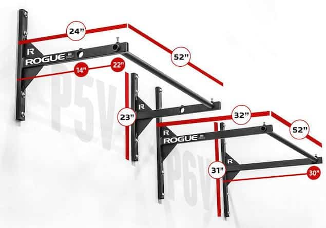 The P-5v and P6v pull up bars from Rogue Fitness vary in their distances from the mounting surface