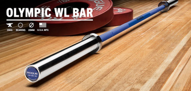 Rogue's Olympic WL bar is now even better, as it comes in cerakote colorways, as well as stainless steel finish