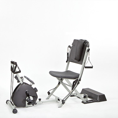 The Smooth Rider II extension clips onto the resistance chair, turning it into a recumbent bike