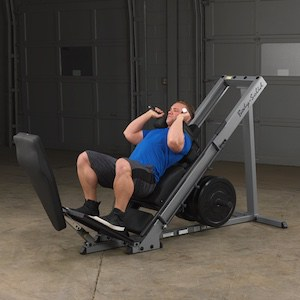 The bodySolid leg press and hack squat machine allows you to switch up your stance to target different muscles