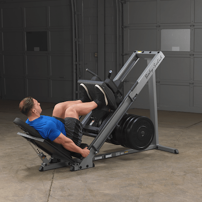The bodysolid leg press and hack squat machine is a very good piece of equipment, and it comes with rubber weight plates