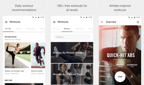 The Nike+ training club app is the top rated amongst the 11 best fitness apps