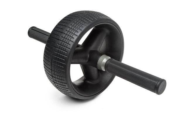 Black ab roller wheel from Rogue Fitness