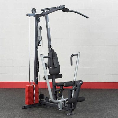 Body Solid G1s Selectorized home gym with red plate stack