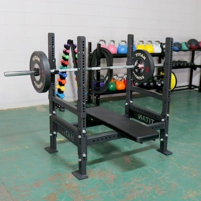 Titan Olympic Bench Press with loaded barbell