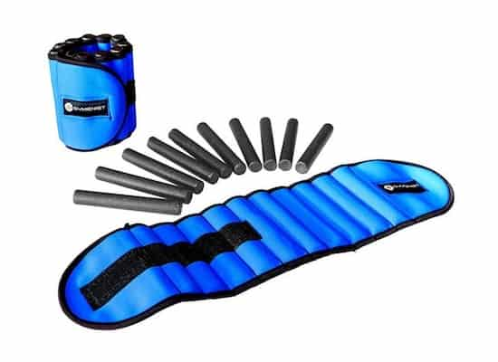 Blue gymenist adjustable ankle weights with weight rods spread out