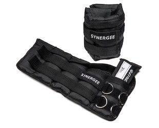 Pair of black synergee adjustable ankle weights, one rolled up and one flat