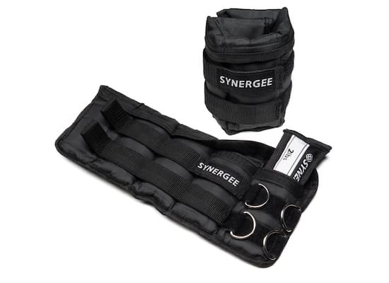 Pair of black synergee adjustable ankle weights