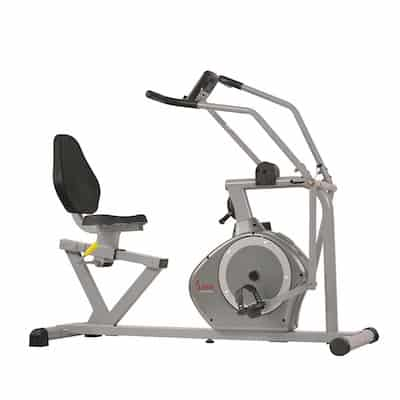 The Sunny Health & Fitness recumbent bike with cross-training arms is a great value option for those looking for a recumbent bike with moving arms