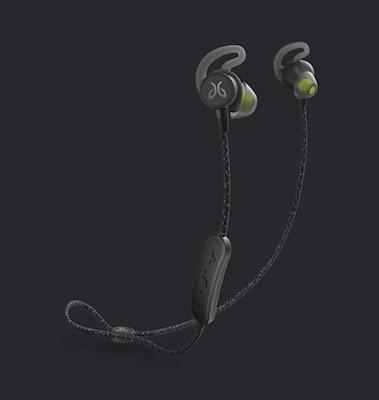 Jaybird headphones on a black background