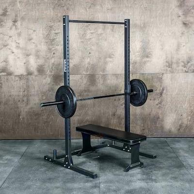 Frine Sport budget squat stand with loaded barbell on j cups above weight bench