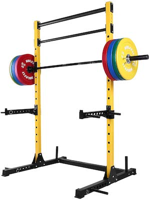 Yellow hulkfit budget squat stand with loaded barbell and pull up bars