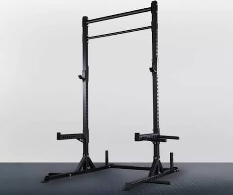 Rep Fitness black squat stand with matador dip arms and spotter arms attached plus fat and skinny pull up bar