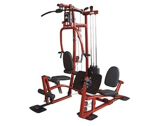 Body-solid exm1 home gym with leg press station in red and black