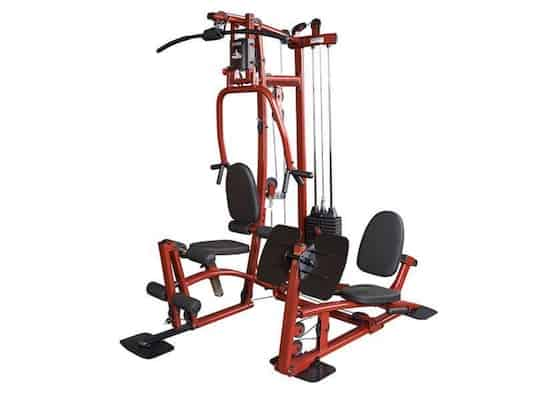 Red and black EXM1 home gym with leg press from body-solid