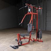 Red and black EXM1 home gym with leg press