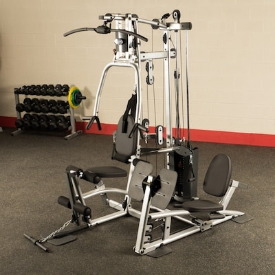 Silver and black powerline ,ulti station home gym with leg press by body-solid