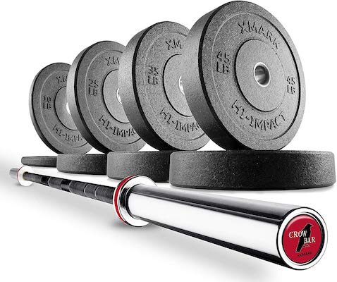 Xmark have made a great powerlifting Olympic weight set with the crowbar package