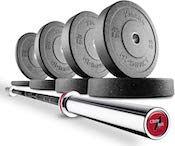 The combincation of the crowbar and go green bumpers is a perfectly great olympic weight set