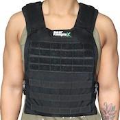 Man wearing black bear komplex weighted vest over green singlet
