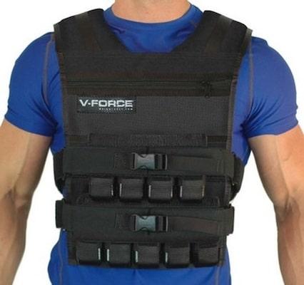 Man wearing black Vforce weighted vest for crossfit over blue shirt